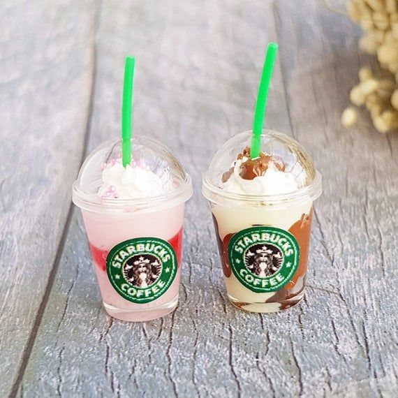 Starbucks Ice Coffee Tea Juice Cups Dollhouse Miniatures Drink