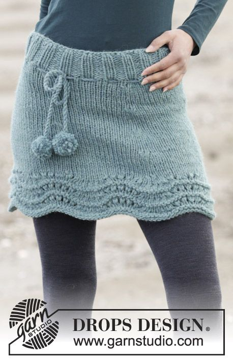Sea Foam - Knitted DROPS skirt with wave pattern and rib in \