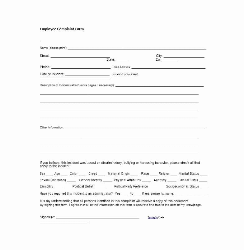 Employee Complaint Form Template In 2020 Lettering