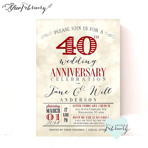 40th anniversary invitation ruby red wedding anniversary light