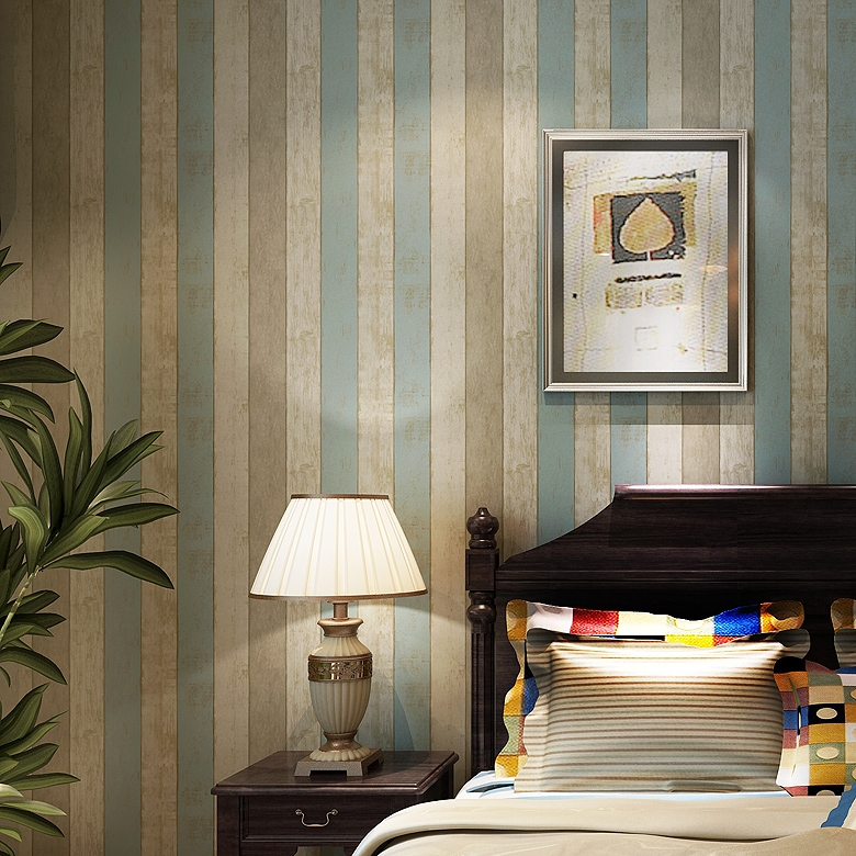 58.00$  Buy now - http://alim47.worldwells.pw/go.php?t=1565924755 - 2016 new selling vintage wood grain American non-woven wallpaper Bedroom,sitting room dining-room TV wall Mediterranean stripe 58.00$