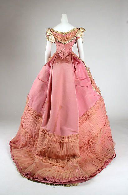 1868 Pink Silk Ball Gown.(Met Museum).