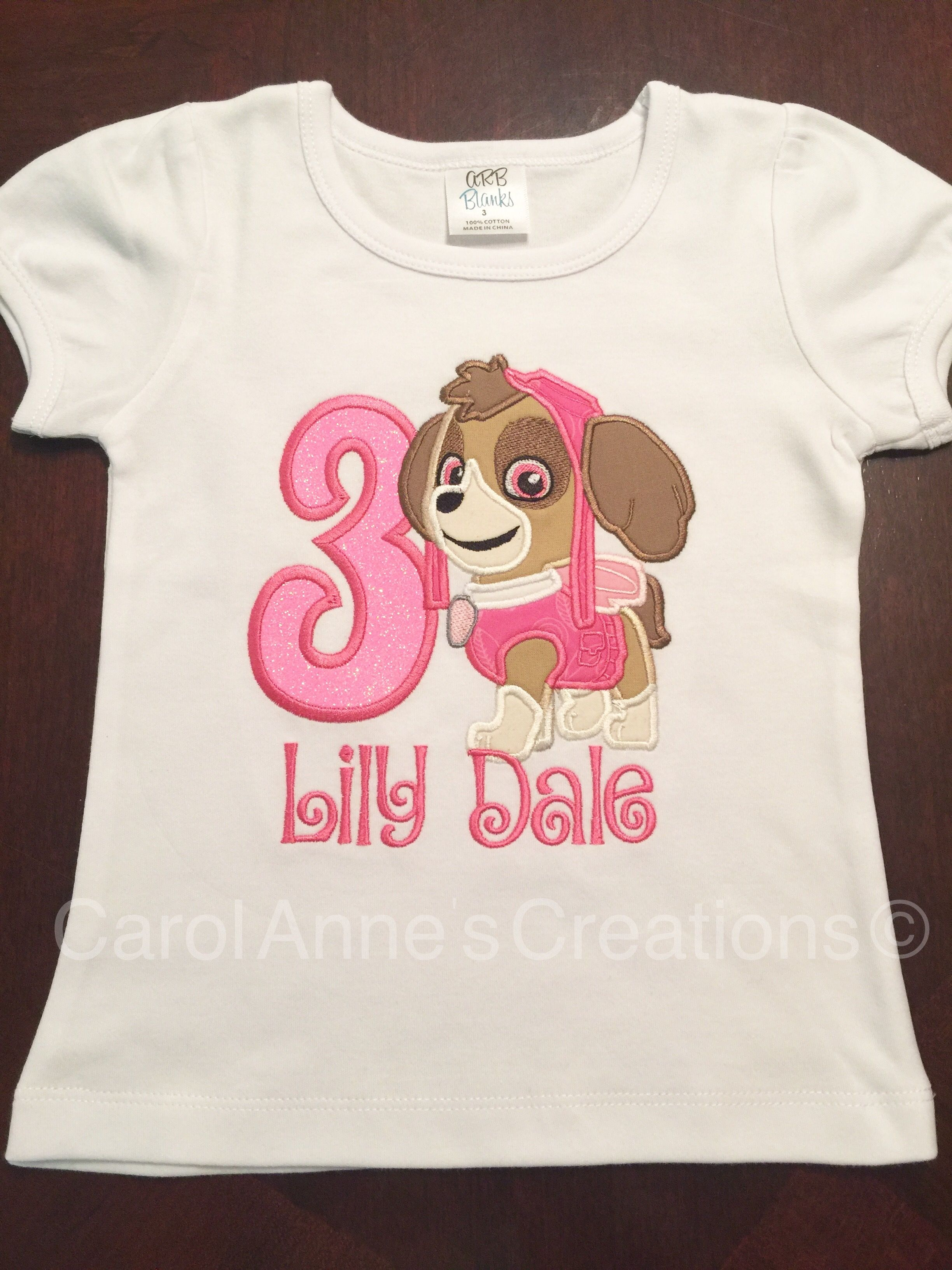 Paw Patrol Skye Birthday Shirt Shirts 3rd Ideas Monogram