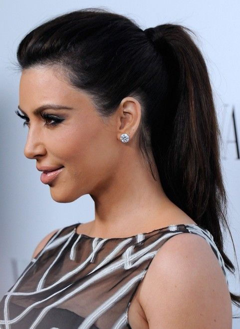 Hairstyles For Straightened Hair : Kim kardashian hairstyles: ponytail hairstyle for straight long