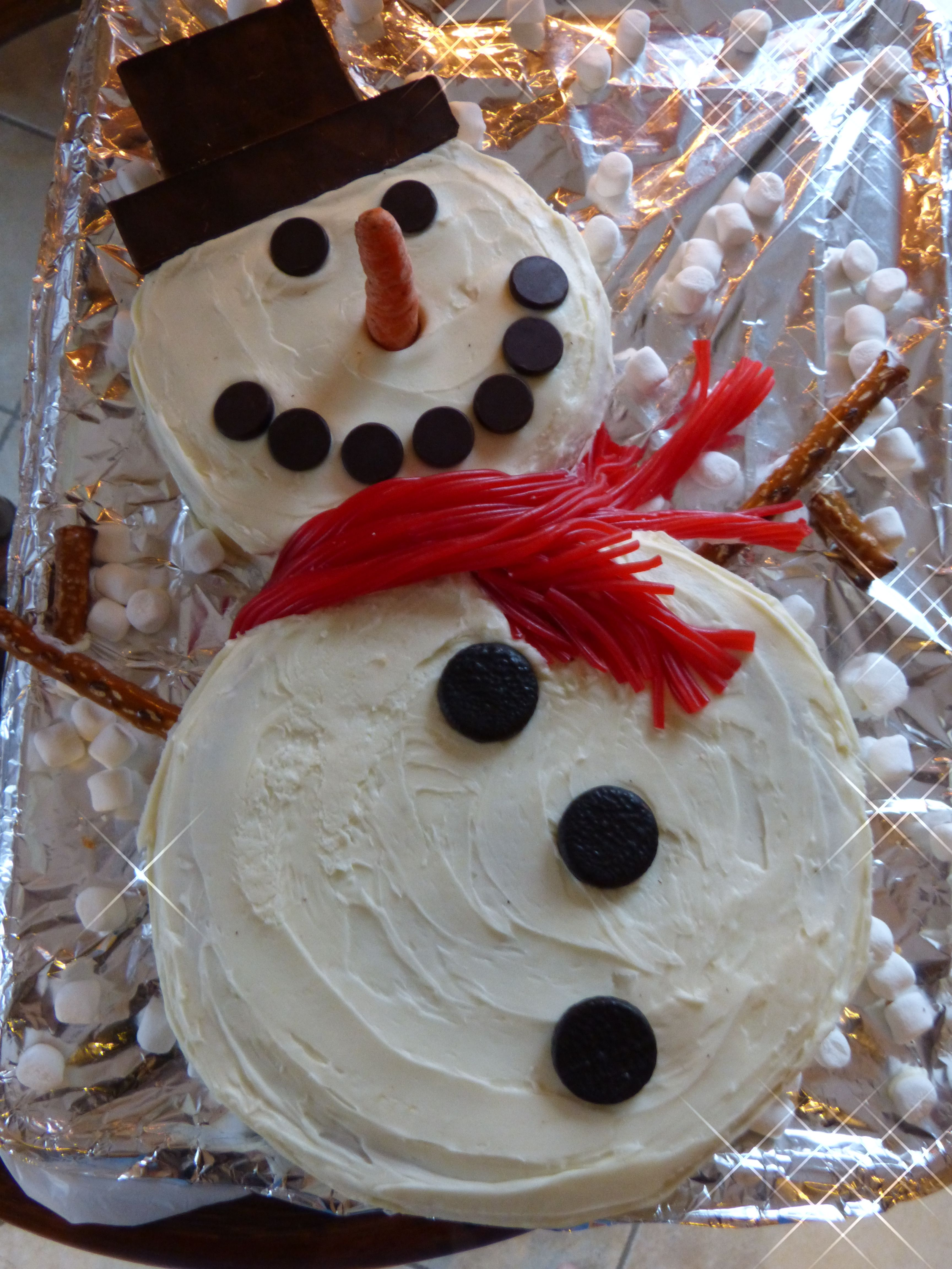 I make a snowman cake every for Christmas! Very easy just ...