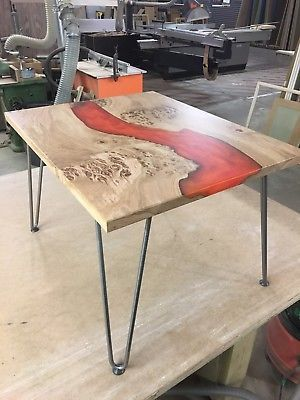 Handmade Waney Edge Resin Coffeeside Table Live Edge Coffee Table