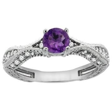 https://ariani-shop.com/14k-white-gold-natural-amethyst-round-5mm-engraved-engagement-ring-diamond-accents-sizes-5--10 14K White Gold Natural Amethyst Round 5mm Engraved Engagement Ring Diamond Accents, sizes 5 - 10