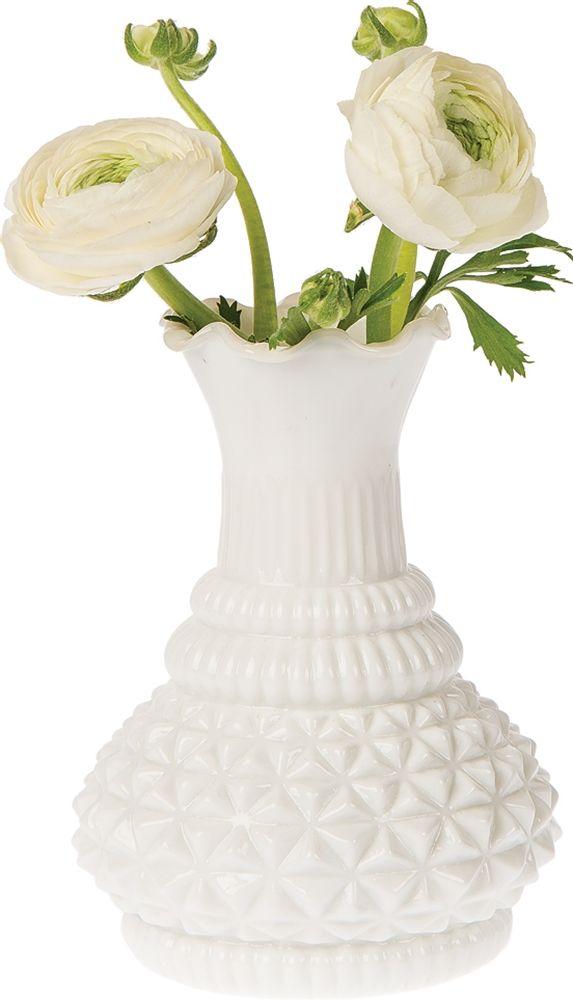 Milk Glass Vase Ruffled Genie Design Wholesale Bulk Milk