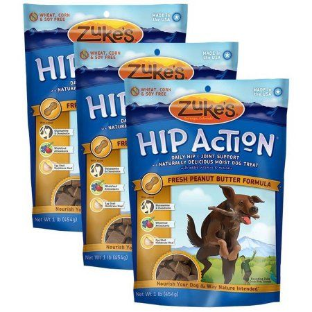 3pks Zuke's Hip Action with Glucosamine and Chondroitin, Peanut Butter, 3 lb