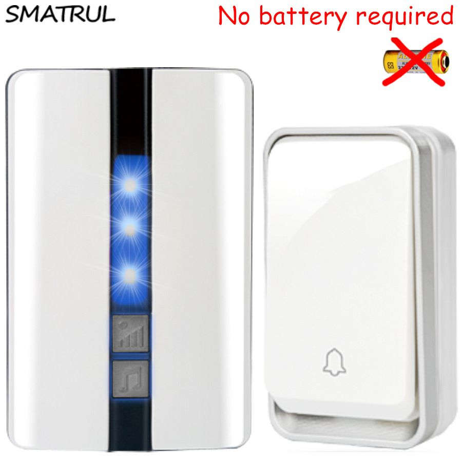 Self-Powered Wireless Doorbell Cordless Plug in Door Bells with 2 Receivers,