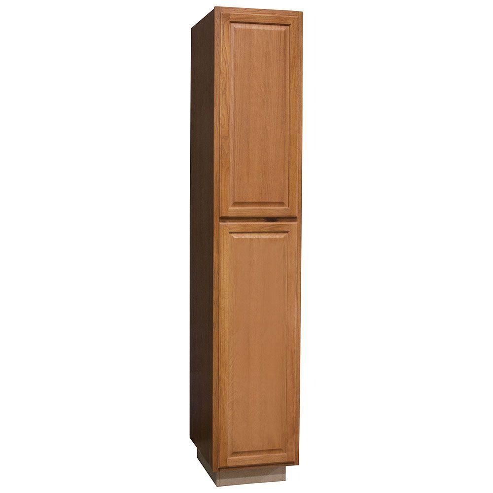 Hampton Bay Hampton Assembled 18x96x24 In Pantry Kitchen Cabinet In Medium Oak Kp1896 Mo The Home Depot Pantry Cabinet Kitchen Pantry Storage Cabinet Wooden Kitchen Cabinets