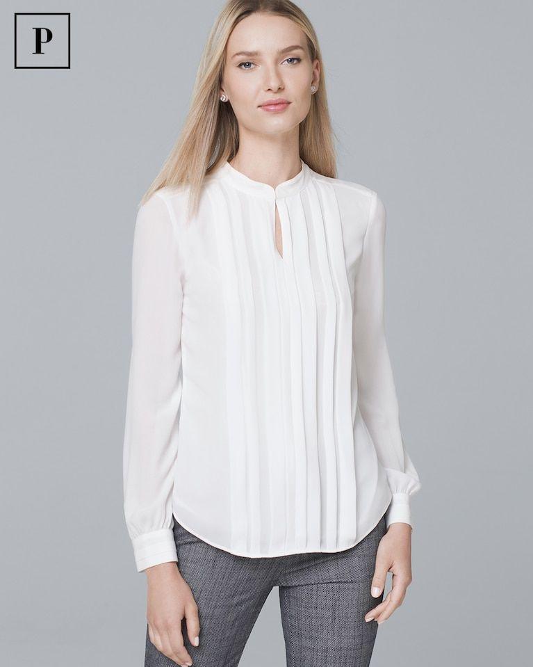 Women S Petite Pleat Front Blouse By White House Black Market