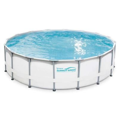 Summer Waves Elite 16 Ft Deep Round 48 In Above Ground Elite Metal Frame Pool With Sfx1500 Filter Cover And Surestep Ladder P40016489 The Home Depot Above Ground Swimming Pools Summer