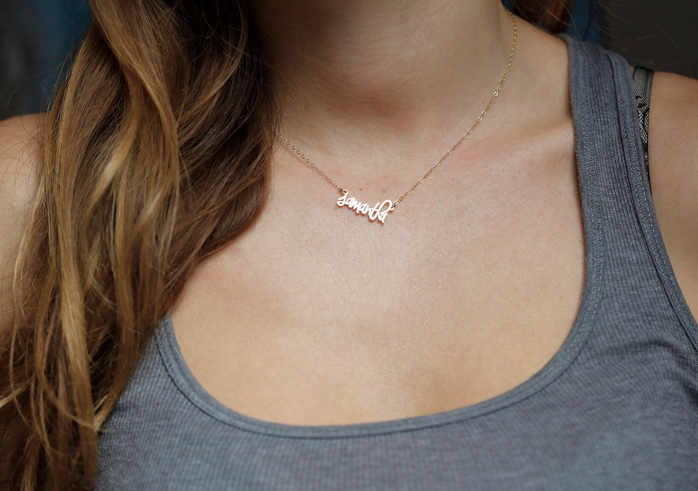 Tiny name necklace small name necklace tiny letter necklace gold
