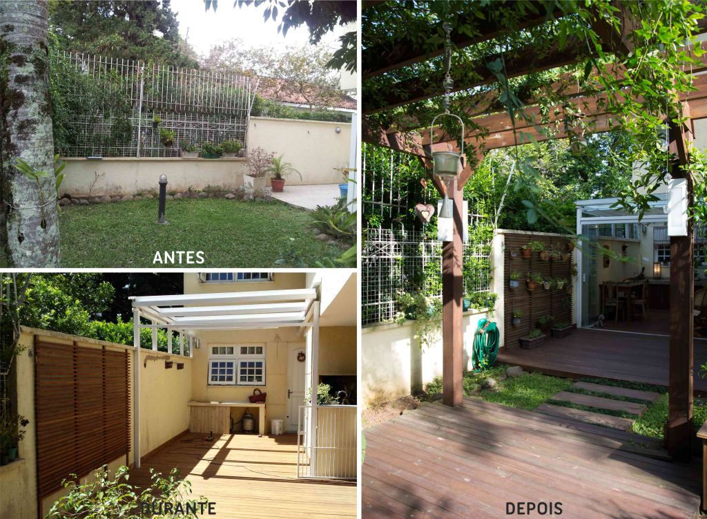 Antes E Depois Quintal Vazio Ganhou Linda Varanda Com Jardim