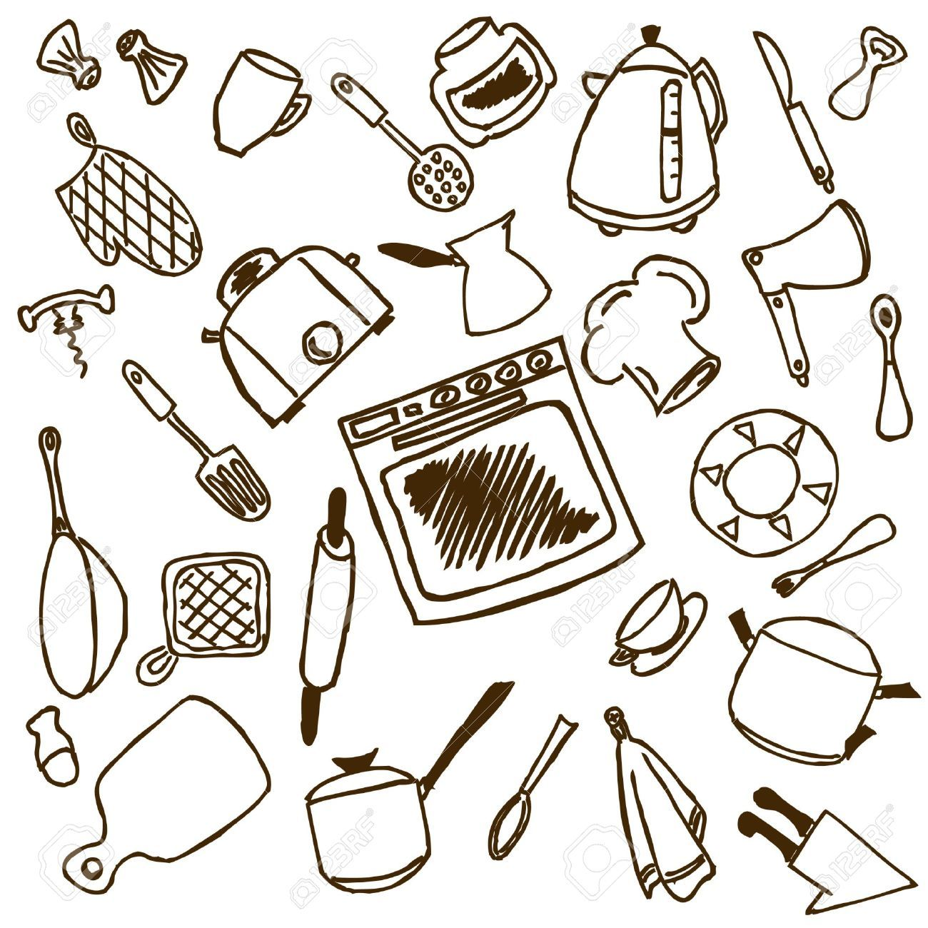 Risultati immagini per utensili cucina disegni   Utensili cucina ...