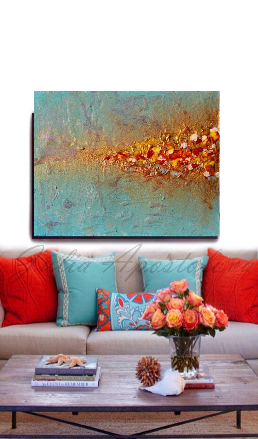 Beach decor wall art modern abstract art print minimalist - Huge Print Canvas Abstract Art Minimalist Painting Minimal Abstract Turquoise And Gold Large Wall Art Beach Decor Secret Beach