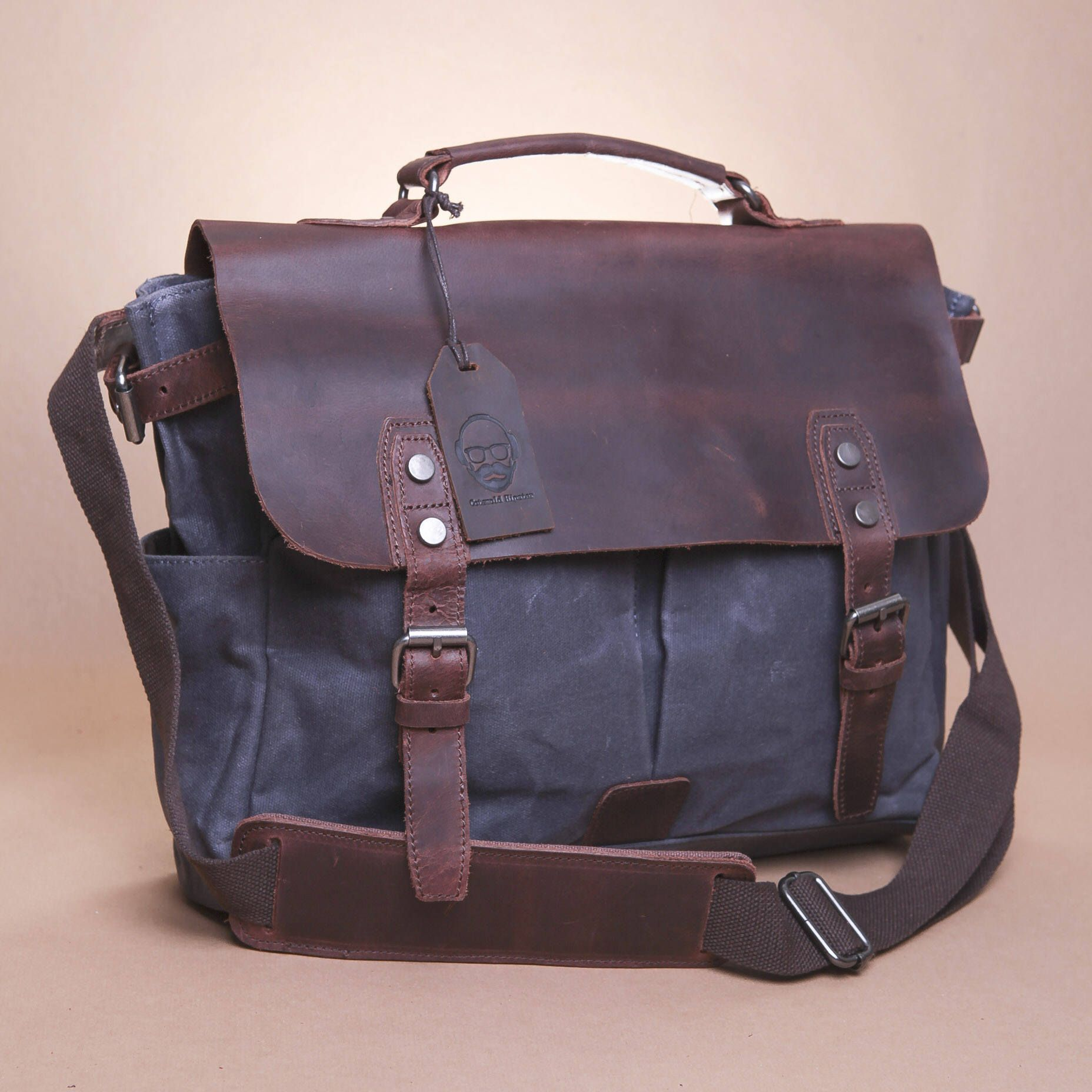 burford waxed canvas and leather messenger bag