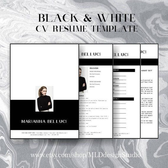 Resume Template 4 Pages Cv Template Cover Letter Etsy