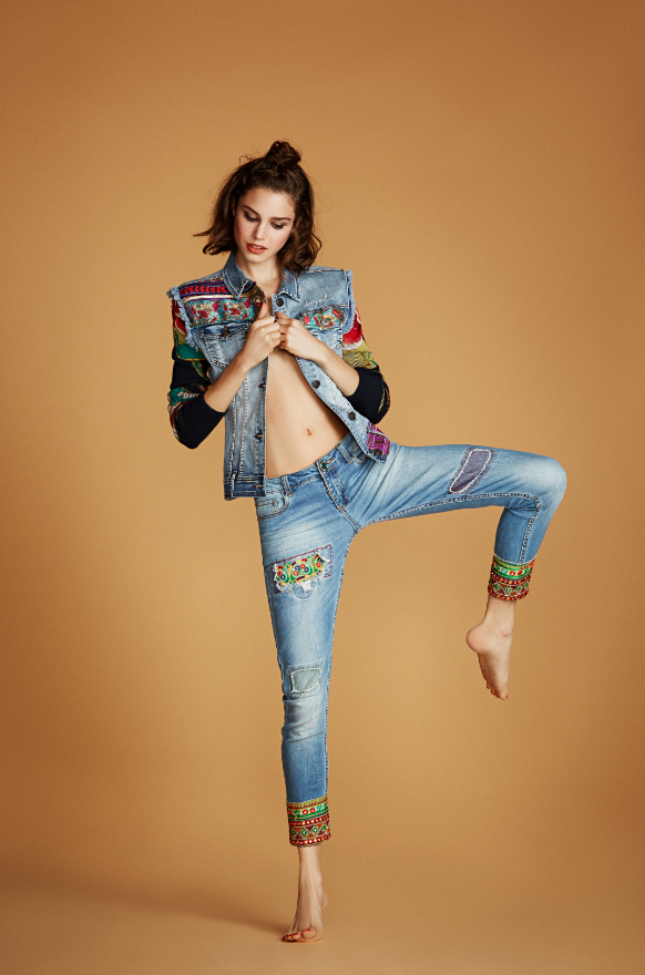 These slim-cut, ankle skimming jeans have indian touches and latin  inspiration. Taken from Desigual s SS16 Exotic Jeans range, these  embroidered jeans are ... bdc3d0664493