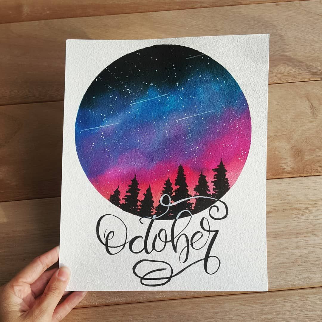 """Rosanne on Instagram: """"Hello October ❤ . . Ecoline liquid watercolors on Arches paper, dr ph martins bleed-proof white for the stars and part of the lettering"""