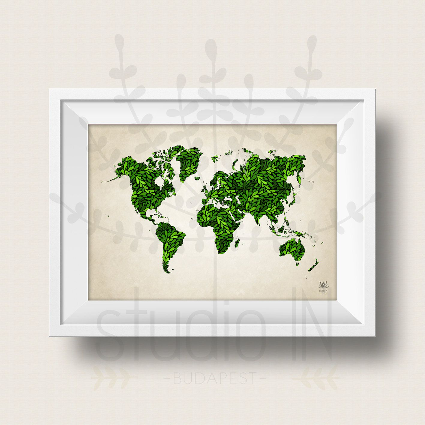 WOLRD MAP POSTER Green World Map Art Large World Map Print - World map poster large download