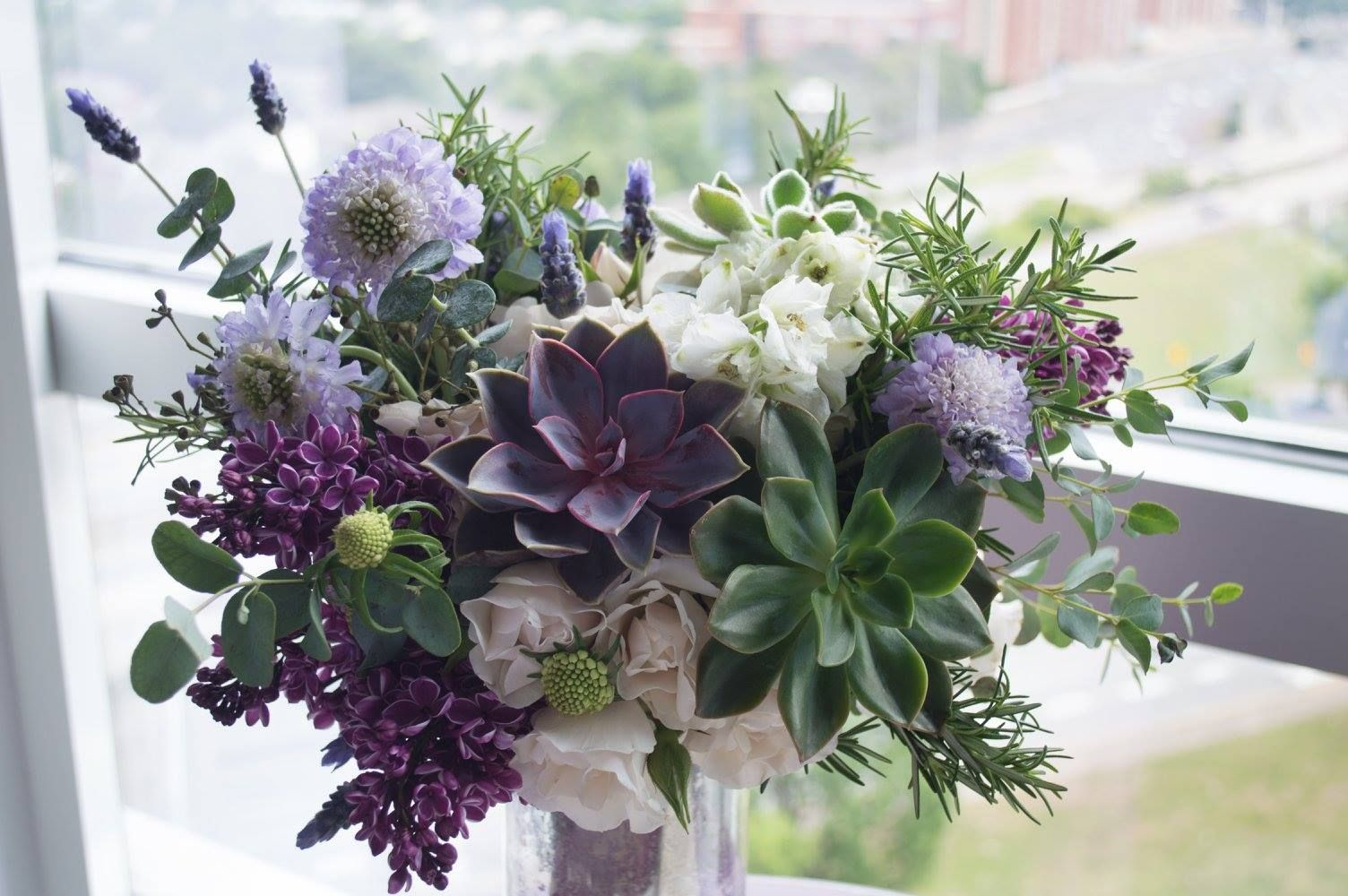 Lavender Bouquet Created By J Kaymay Llc Lilac Lavender Rosemary Succulent Scabiosa Eucalyptu Lavender Bouquet Succulent Bouquet Elegant Wedding Flowers