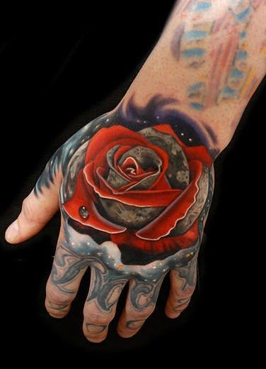 Jaw Drop Girl Tattoo Roses: Rose Tattoo By Andres Acosta Single Dew Drop Pink Rose
