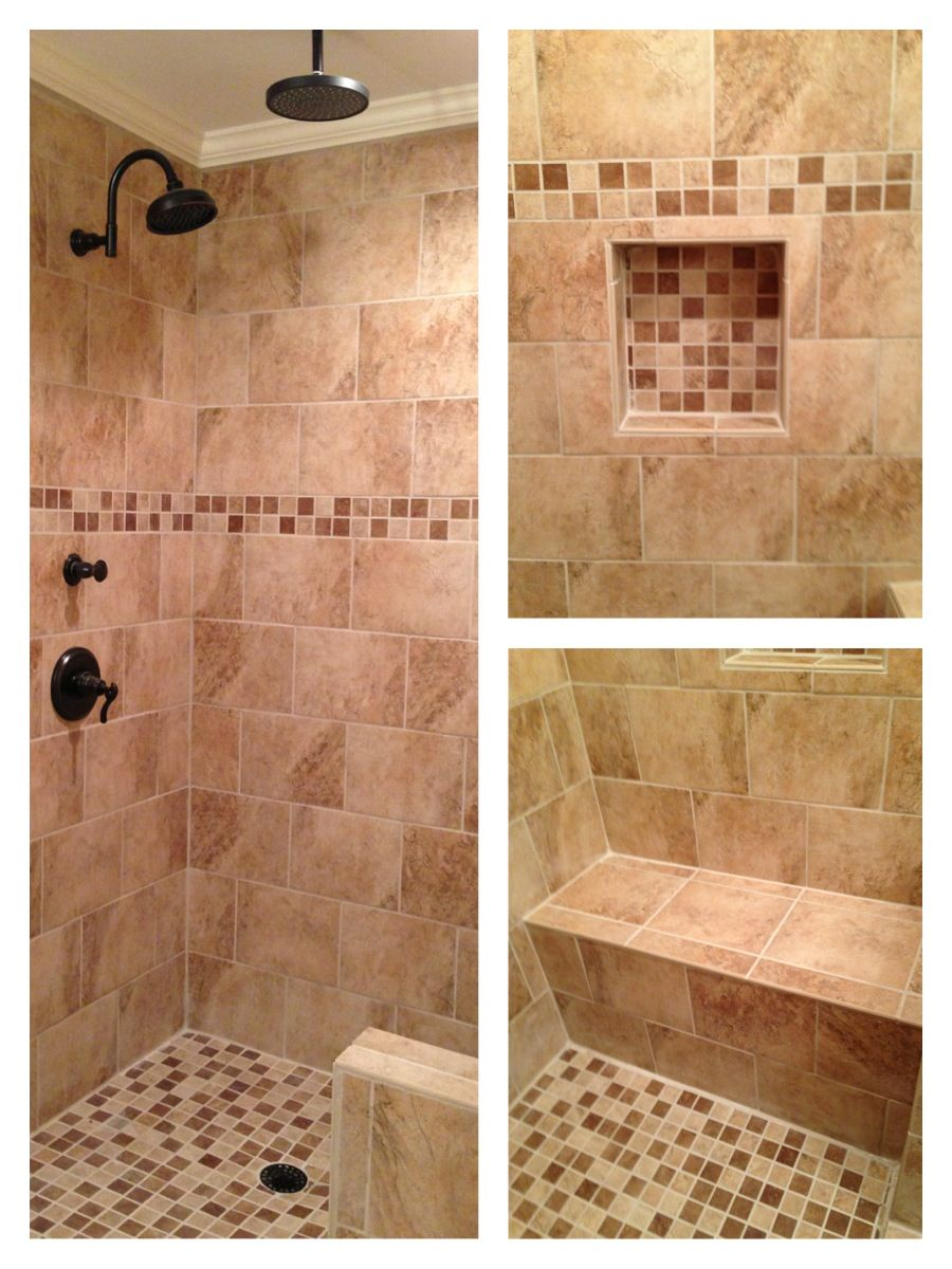 Downstairs Half Bath Off Garage   Tile Shower With Bench. Beige Custom Tile  Shower With Rain Head, Bench, Built In Shelf, Oil Rubbed Bronze Fixtures.