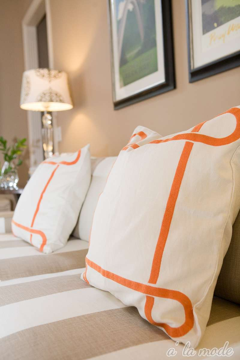 Orange border pillows love she lives in a dream house