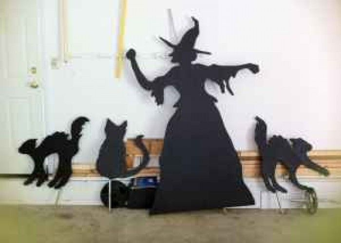 Halloween Witch 3 Cats Life Size Wooden Silhouette Cutouts
