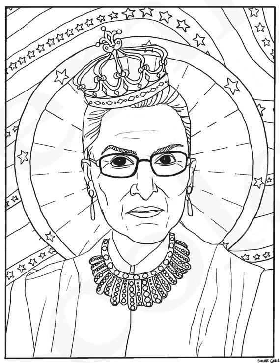 Ruth Bader Ginsburg RBG Supreme Court Justice Feminist Coloring Portraits