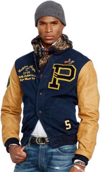 28cfef568 Polo Ralph Lauren Davidson Varsity Jacket in Blue for Men