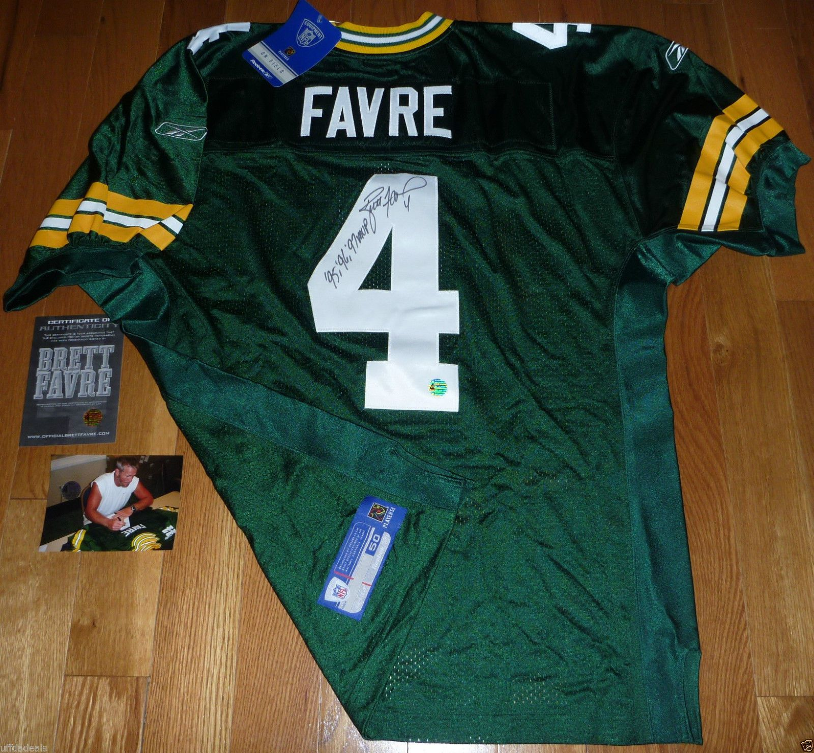 b6a613d3e GREEN BAY PACKERS BRETT FAVRE SIGNED 95 96 97 MVP INSCRIBED AUTHENTIC JERSEY  COA