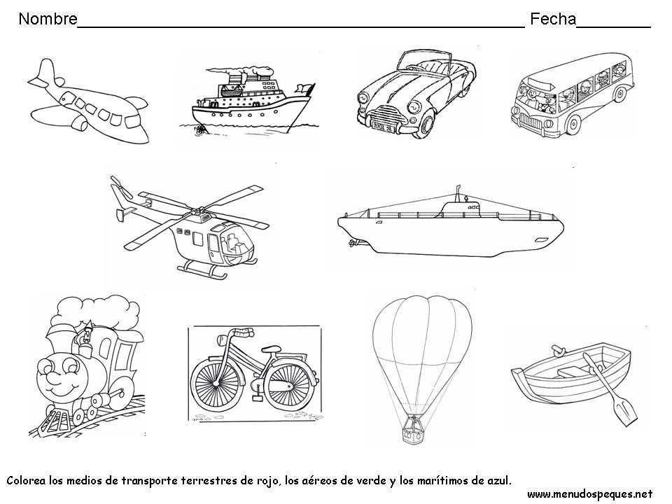 Medios De Transporte 02 Medios De Transporte Medios De Transporte Dibujos Transporte Preescolar