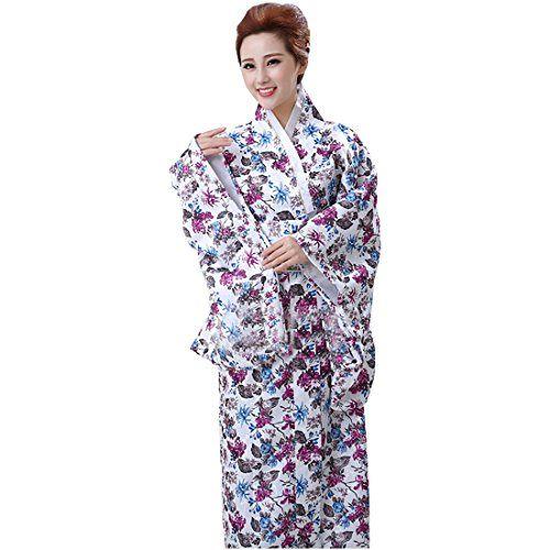 Partiss Damen Geisha Blumen Cosplay Kimono Morgenmantel Kostuem ...