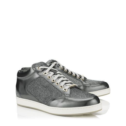 Jimmy Choo - Miami - Anthracite Glitter and Mirror Leather Sneakers