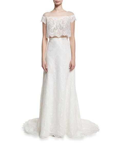 Two-Piece Hand-Beaded Lace Gown, White