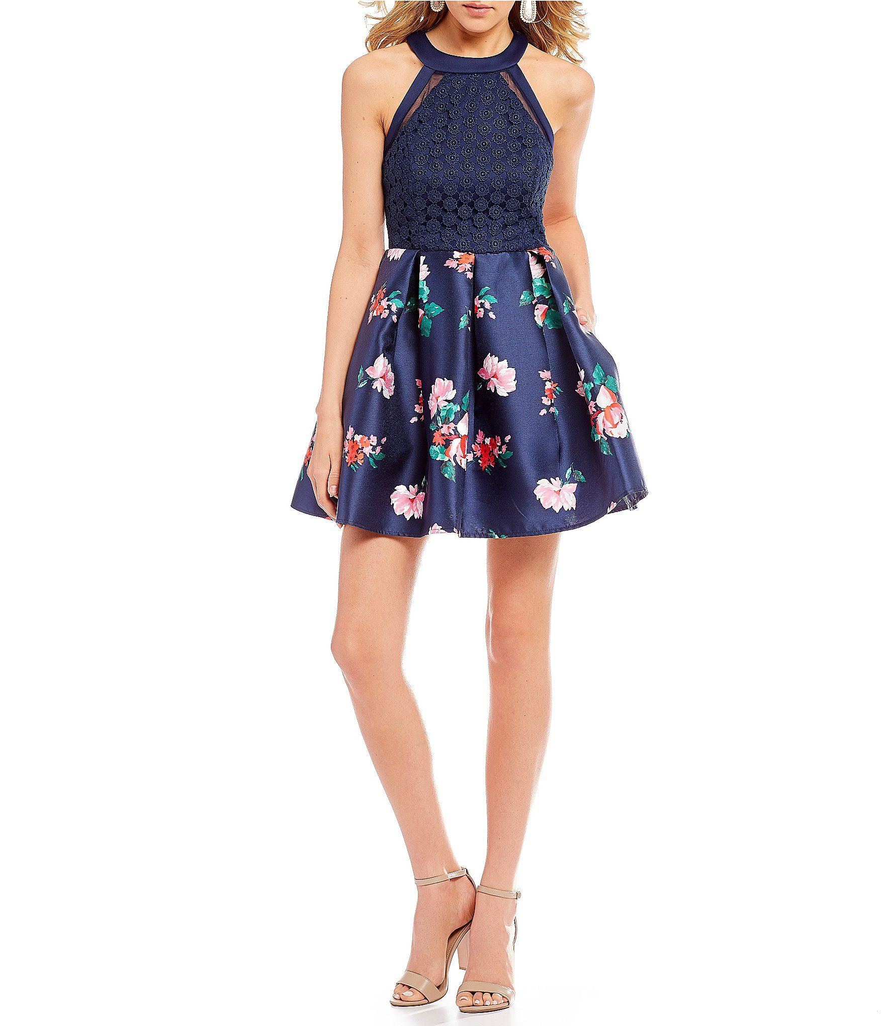 b56d4cfaa4 Shop for Teeze Me High Neck Floral Skirt Fit-And-Flare Dress at  Dillards.com. Visit Dillards.com to find clothing