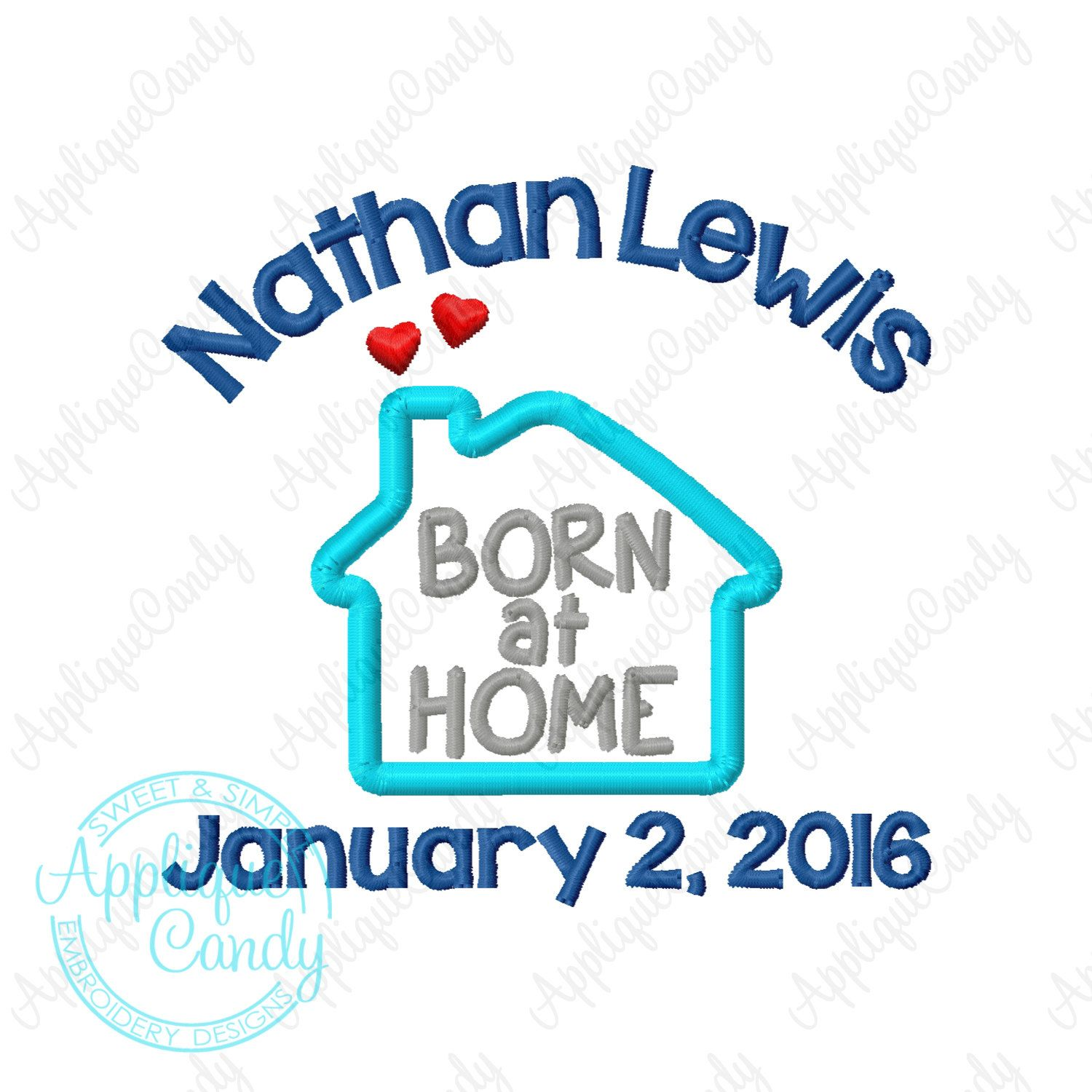 Custom Digitized Born At Home Personalized Machine Embroidery Design ...