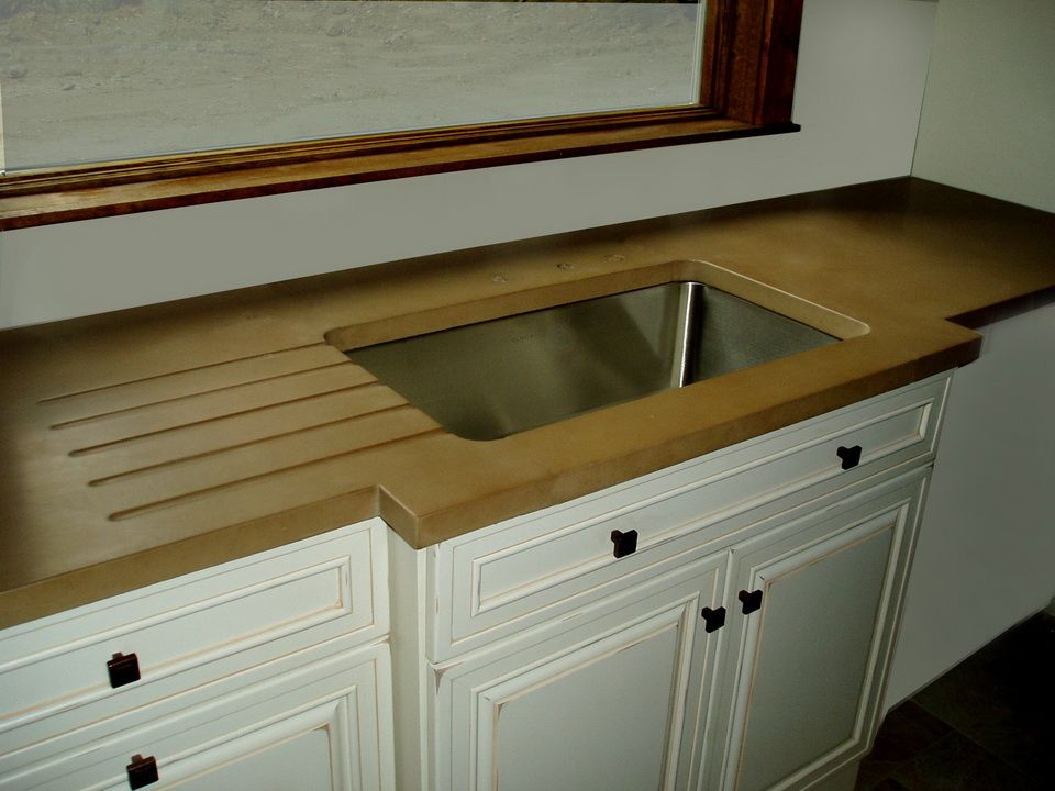 Engineered Concrete Countertop With Large Integral Drainboard And