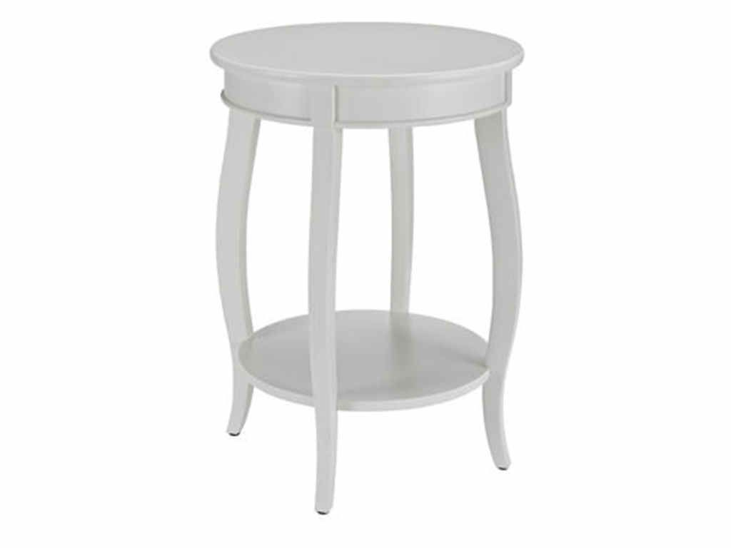 White MDF Solid Wood Round Table With Shelf PWL 929 351