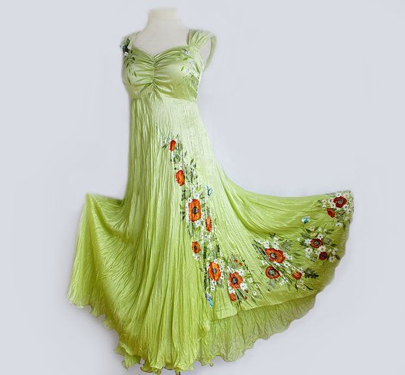 Hand Painted Silk Wedding Gown Bridesmade Floral Dress