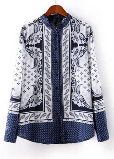 Retro Mandarin Collar Printed Long Sleeve Shirt for Lady on sale only US$14.35 now, buy cheap Retro Mandarin Collar Printed Long Sleeve Shirt for Lady at martofchina.com