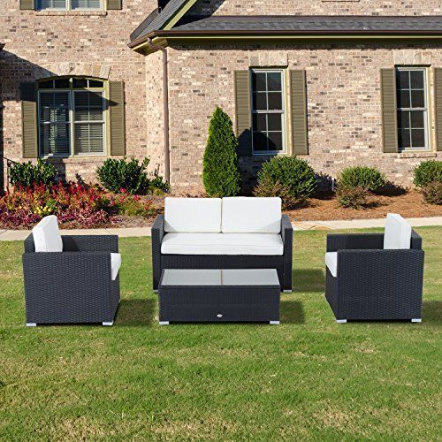 Rattan Furniture Set Wicker Weave Sofa Table Chairs Coffee Table Patio Set 4 Pcs Rattanfurni Rattan Outdoor Furniture Outdoor Wicker Furniture Garden Sofa Set