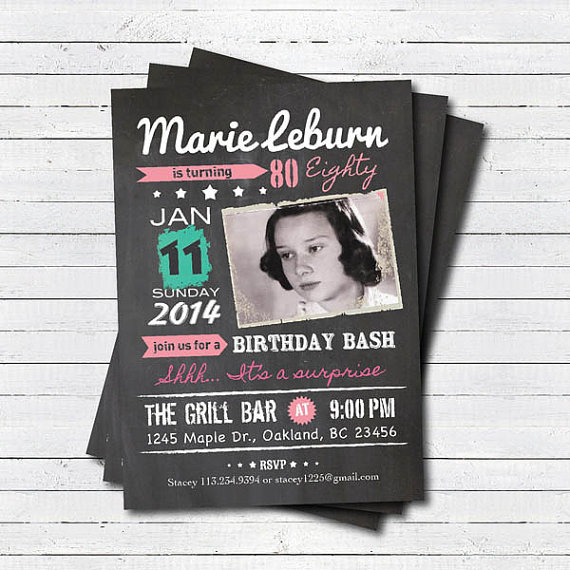 Surprise 80th Birthday Invitation Woman Retro Chalkboard Pink Teal Man 40th 60th 70th 90th