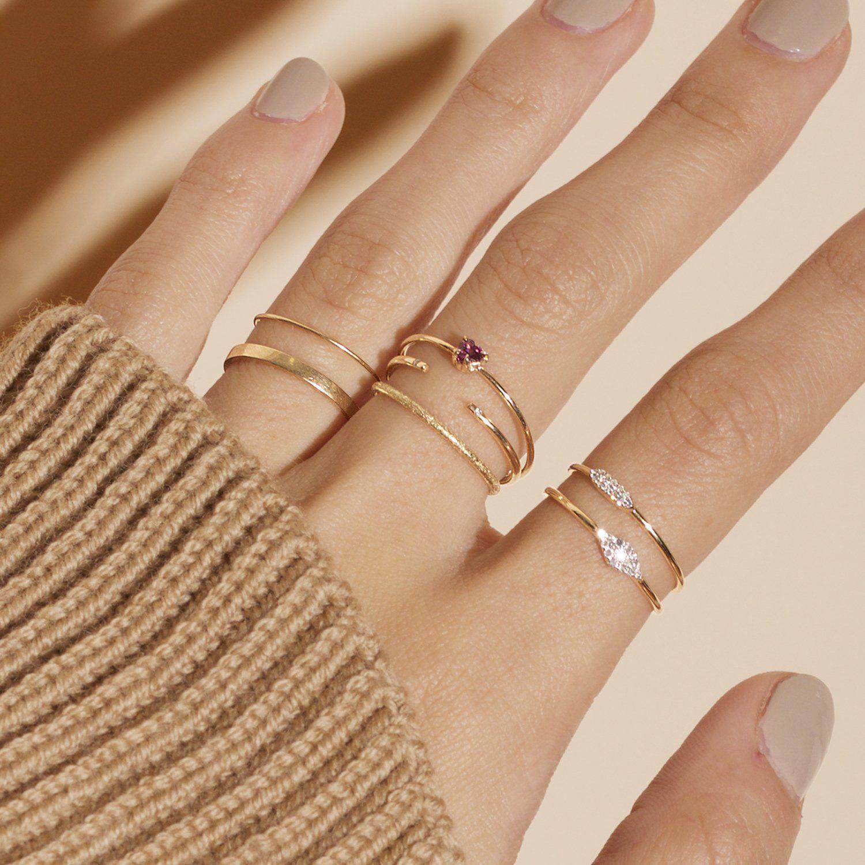 Curved V diamond wedding band solid 14K rosse gold ring