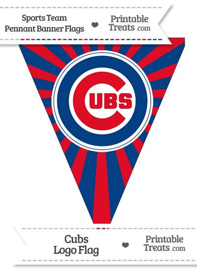 picture about Printable Chicago Cubs Logo named Chicago Cubs Pennant Banner Flag in opposition to