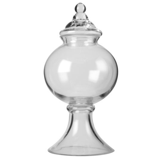 <div>This round, apothecary jar works great as a small centerpiece or grouped with taller ones a...