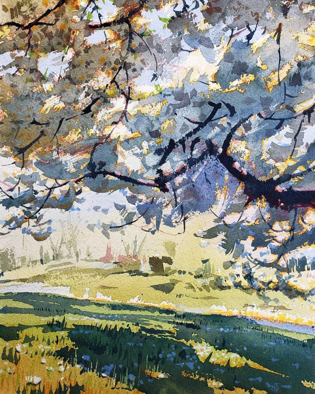 Yong Hong Zhong April 2020 In 2020 Watercolor Landscape Paintings Landscape Drawings Watercolor Landscape